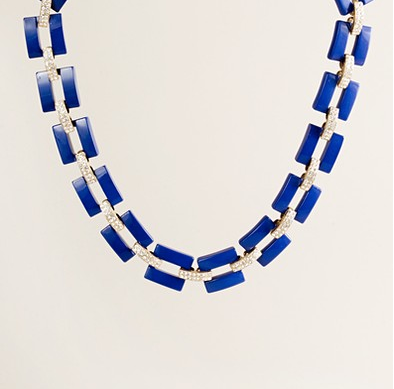J Crew Resin and Rhinestone Link Necklace